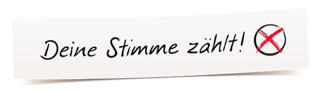 Deine Stimme zhlt! - Handschrift auf Banner